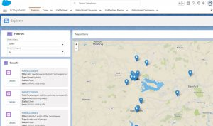 A Salesforce interface showing all FixMyStreet reports
