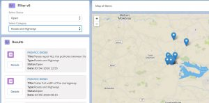 A Salesforce interface showing just 'roads and highways' reports
