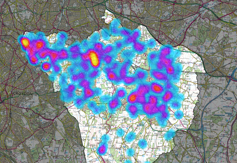 Reports plotted as a heatmap for Bromley staff