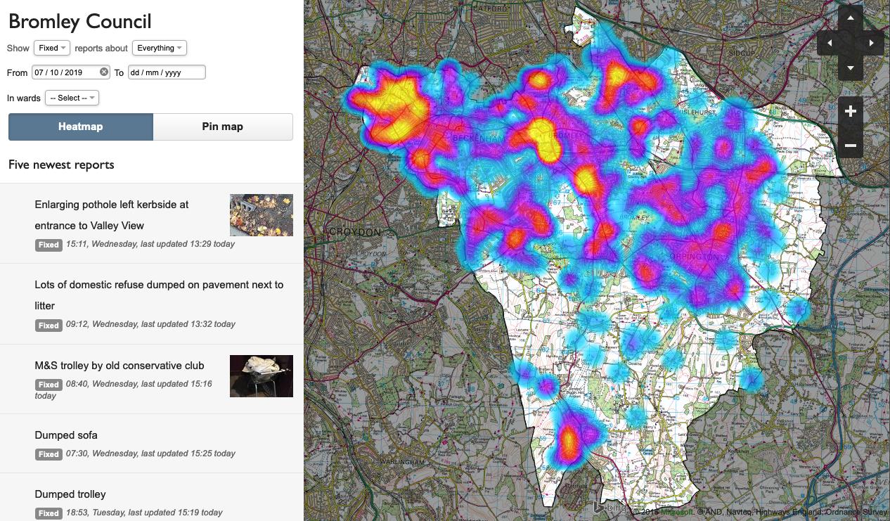 A FixMyStreet Pro heatmap