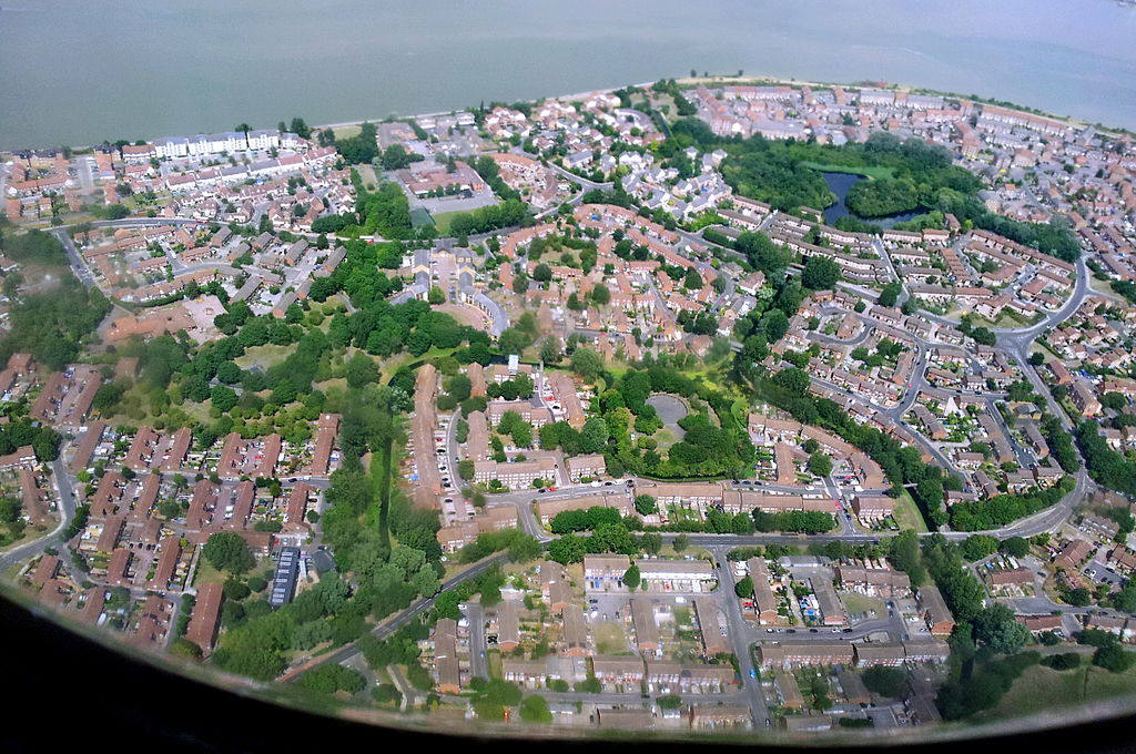 Aerial view of London Thamesmead