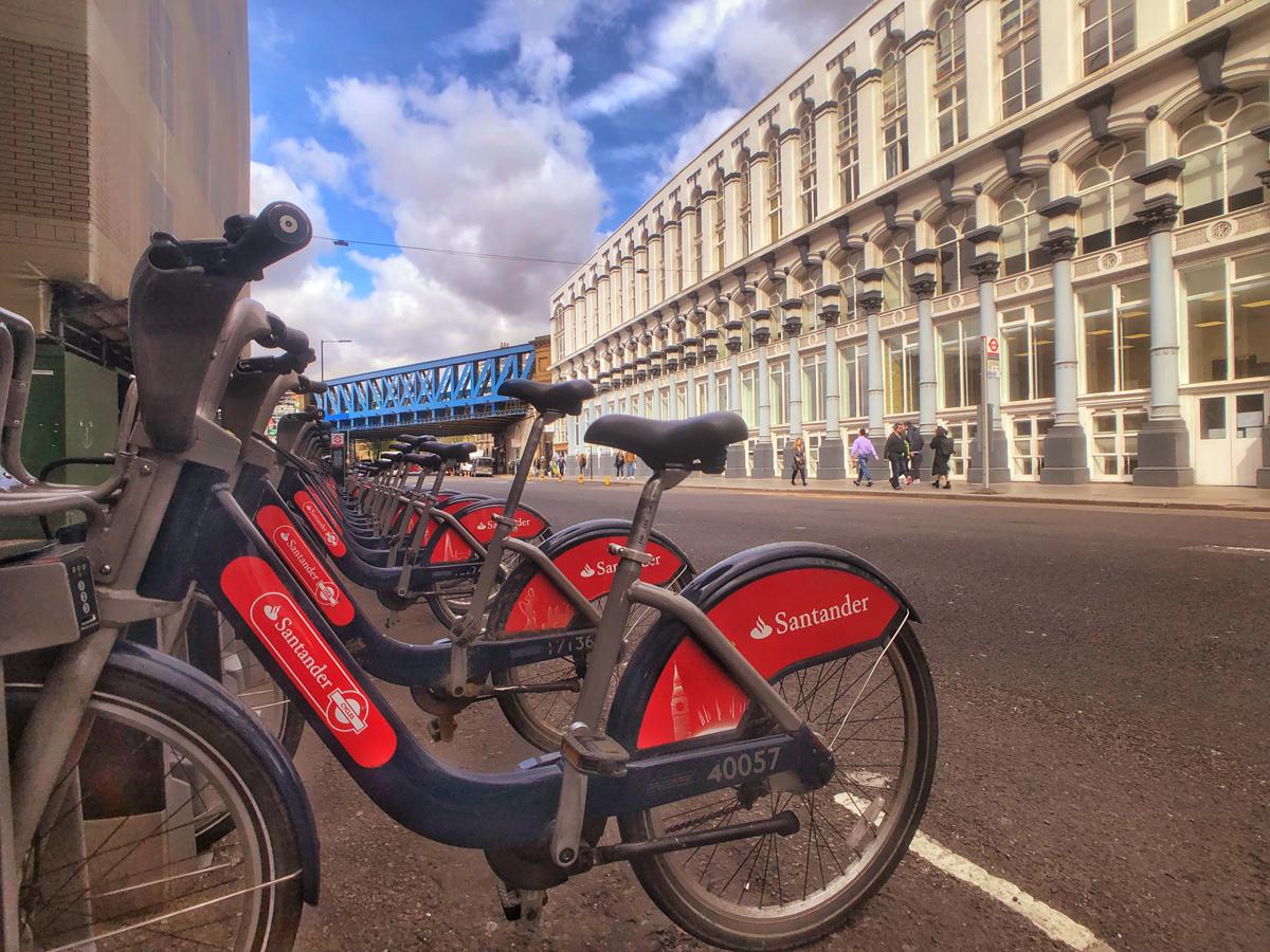 Santander bikes parked on a London street. Image by John jackson