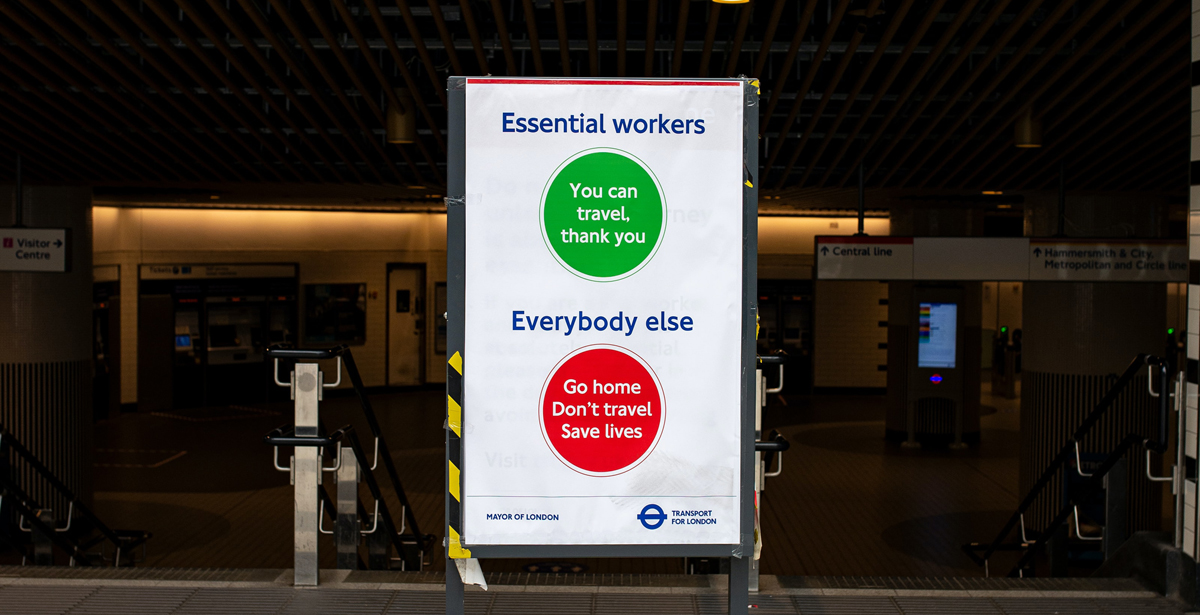 Image by Ben Garratt: a sign outside an underground station saying that only key workers should travel.