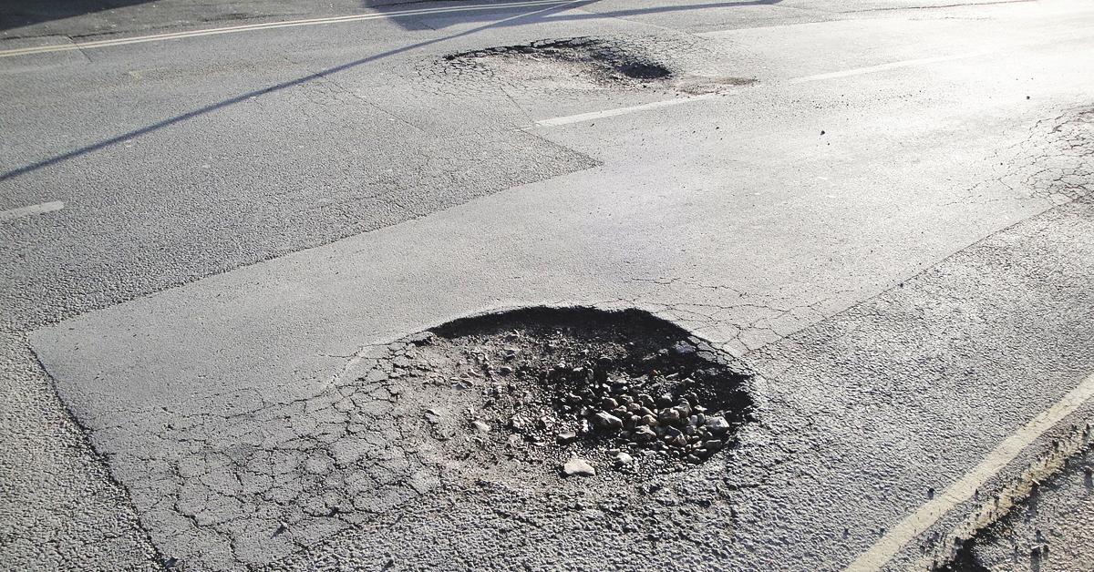 Pothole on a road