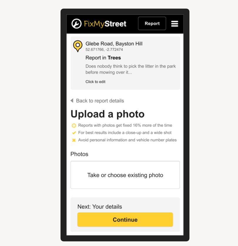 FixMyStreet new mobile website improvements