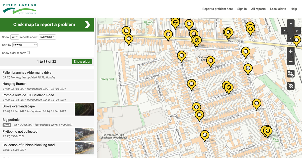 Peterborough FixMyStreet Pro with new OS Maps