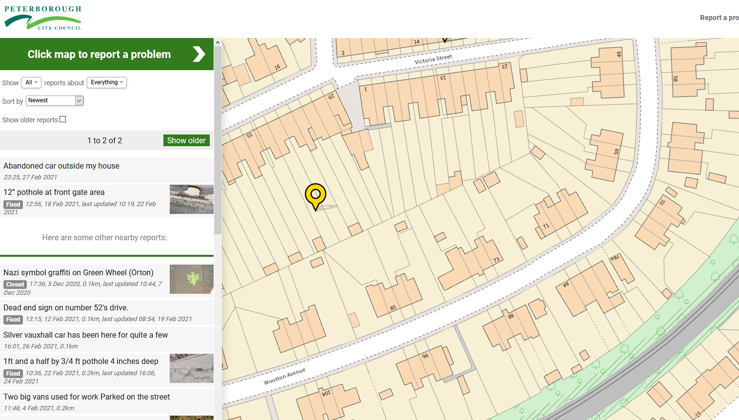 Peterborough City Council's FixMyStreet Pro reporting platform, with new OS maps