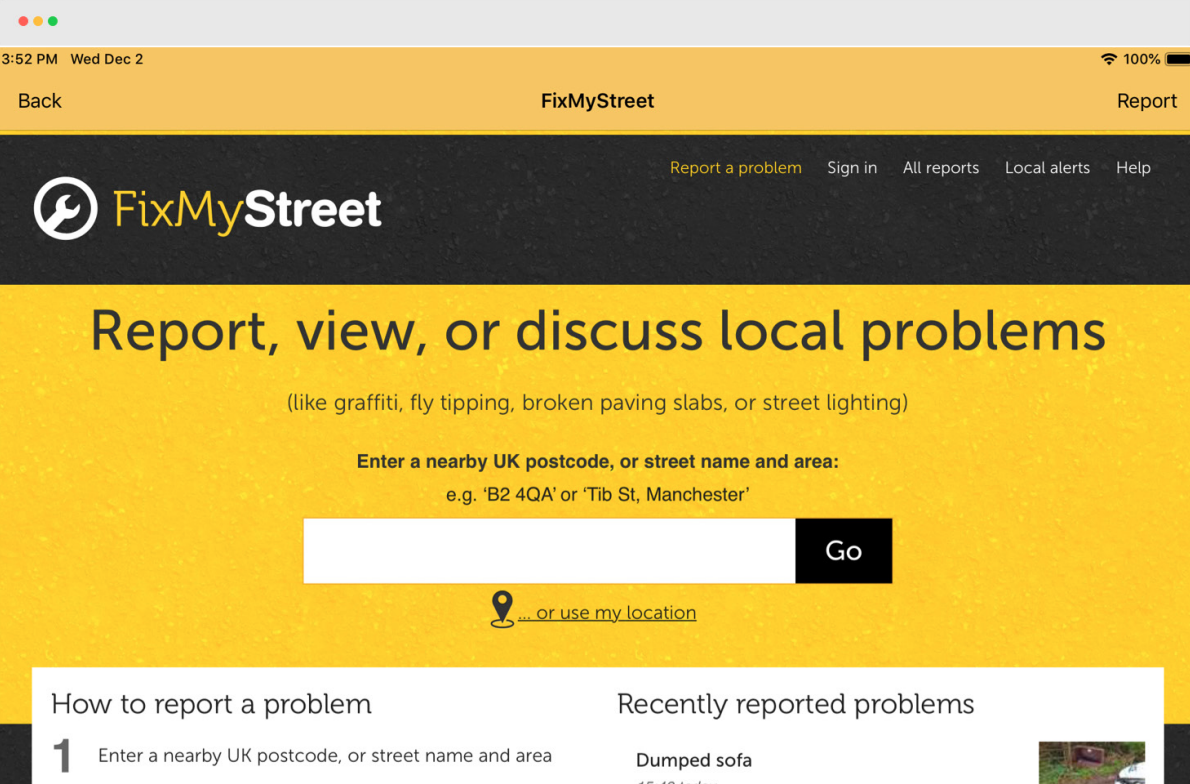 FixMyStreet.com lets citizens report local problems to the correct council